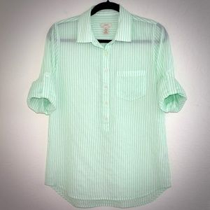 J. Crew Tops - J Crew Top 4 Camp Popover Green Striped Roll Tab